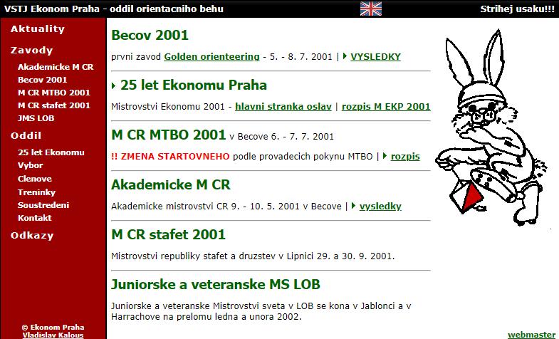 Web EKP v roce 2001